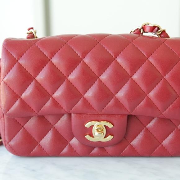ff2f2461620b CHANEL Handbags - Authentic Chanel Classic Flap Mini Lamb Skin Red